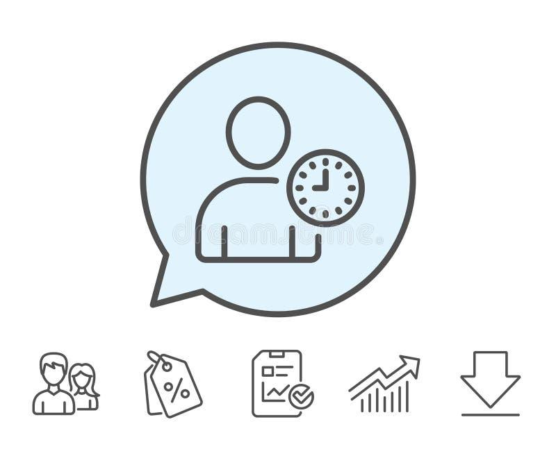 Χρήστης με το εικονίδιο γραμμών ρολογιών Σημάδι ειδώλων σχεδιαγράμματος απεικόνιση αποθεμάτων