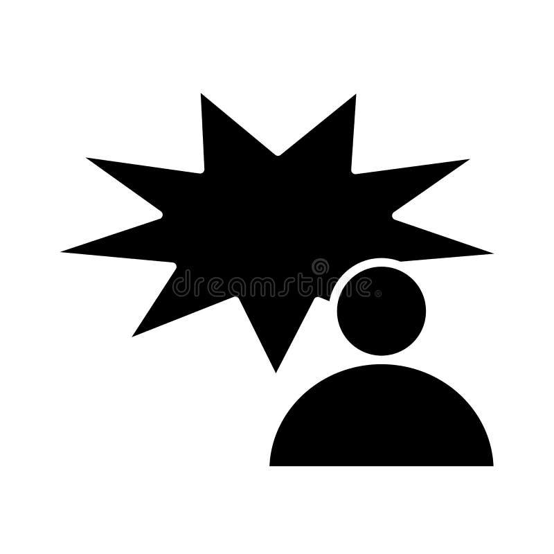 Χρήστης με το κωμικό στερεό εικονίδιο λεκτικών φυσαλίδων Πρόσωπο και διανυσματική απεικόνιση λεκτικών φυσαλίδων συνομιλίας που απ ελεύθερη απεικόνιση δικαιώματος