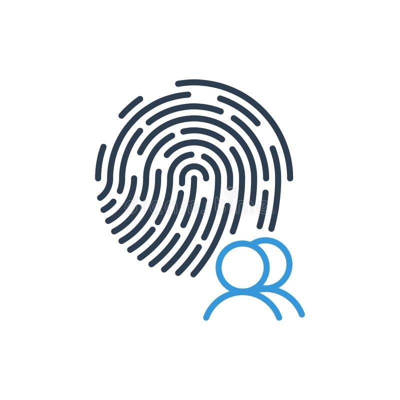 Χρήστης ομάδας και διάνυσμα εικονιδίων δακτυλικών αποτυπωμάτων ασφάλειας που απομονώνεται στο άσπρο υπόβαθρο διανυσματική απεικόνιση