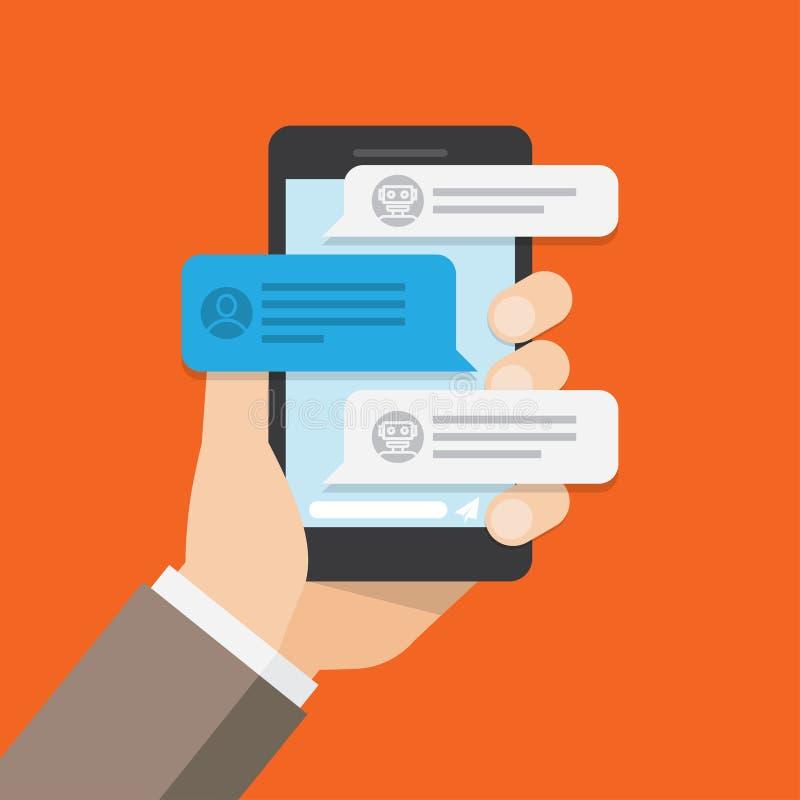 Χρήστης που κουβεντιάζει με τη συνομιλία BOT στην κινητή εφαρμογή διανυσματική απεικόνιση