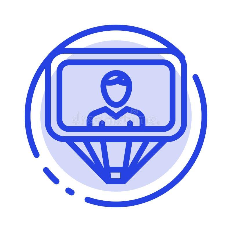 Χρήστης, σχεδιάγραμμα, ταυτότητα, μπλε εικονίδιο γραμμών διαστιγμένων γραμμών σύνδεσης απεικόνιση αποθεμάτων