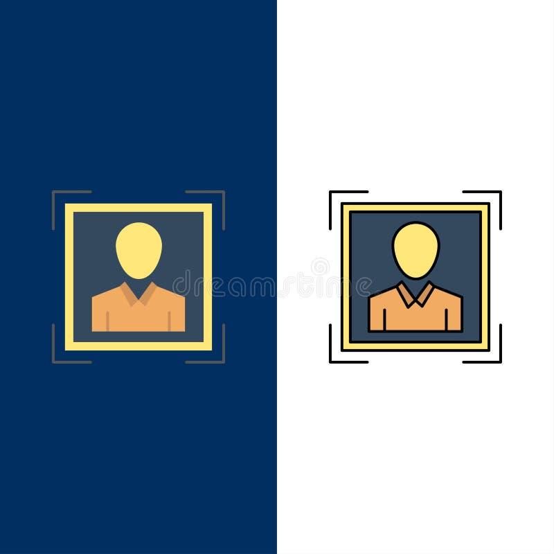 Χρήστης, χρήστης - ταυτότητα, ταυτότητα, εικονίδια εικόνας σχεδιαγράμματος Επίπεδος και γραμμή γέμισε το καθορισμένο διανυσματικό ελεύθερη απεικόνιση δικαιώματος