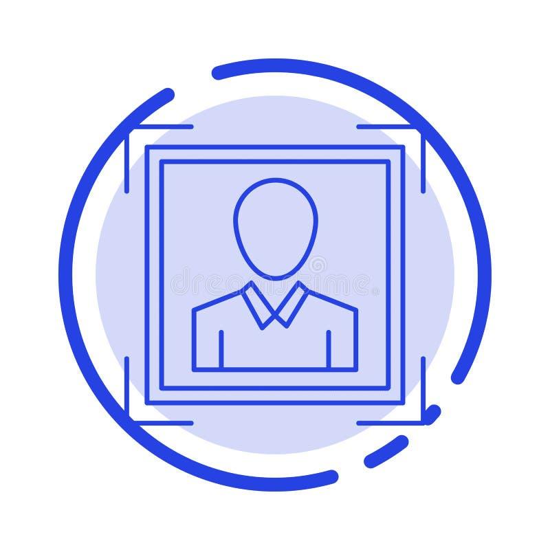 Χρήστης, χρήστης - ταυτότητα, ταυτότητα, μπλε εικονίδιο γραμμών διαστιγμένων γραμμών εικόνας σχεδιαγράμματος διανυσματική απεικόνιση