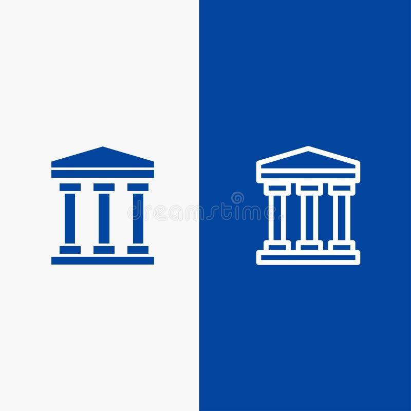 Χρήστης, τράπεζα, γραμμή μετρητών και στερεά γραμμή εμβλημάτων εικονιδίων Glyph μπλε και στερεό μπλε έμβλημα εικονιδίων Glyph ελεύθερη απεικόνιση δικαιώματος