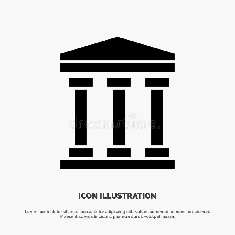 Χρήστης, τράπεζα, στερεό διάνυσμα εικονιδίων Glyph μετρητών διανυσματική απεικόνιση