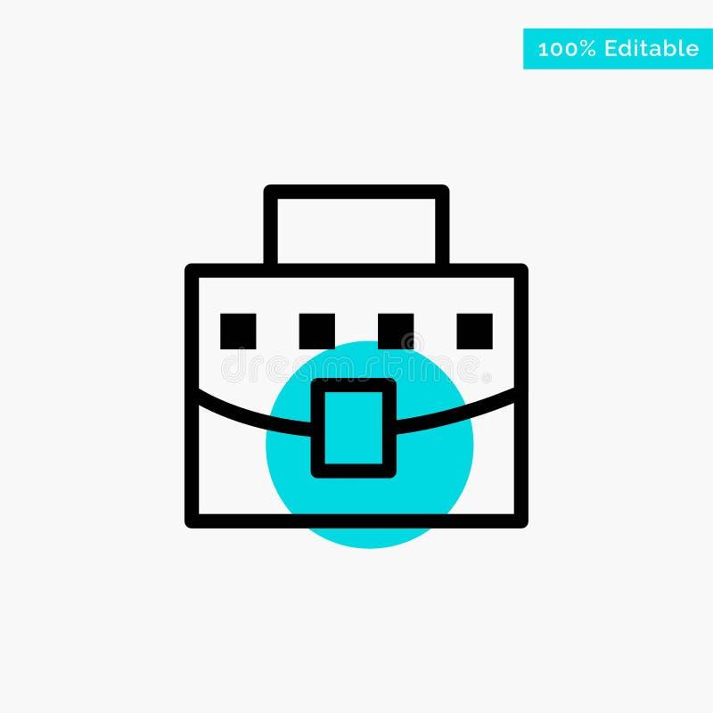 Χρήστης, τσάντα, επιχείρηση, διανυσματικό εικονίδιο σημείου κυριώτερων κύκλων γραφείων τυρκουάζ διανυσματική απεικόνιση
