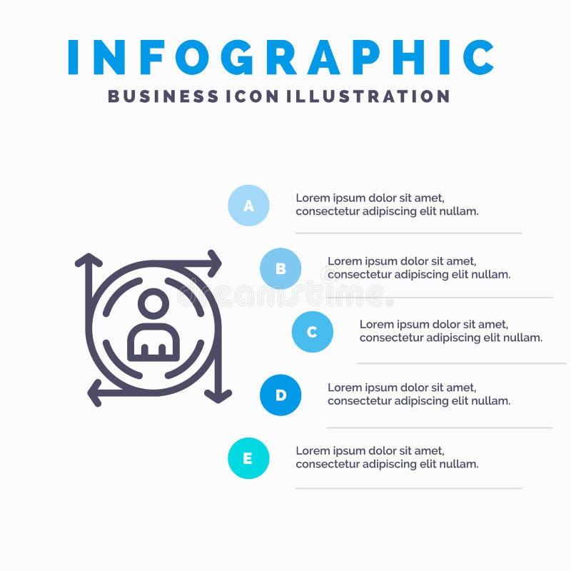 Χρήστης, Predication, βέλος, εικονίδιο γραμμών πορειών με το υπόβαθρο infographics παρουσίασης 5 βημάτων ελεύθερη απεικόνιση δικαιώματος