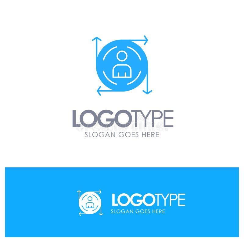 Χρήστης, Predication, βέλος, μπλε στερεό λογότυπο πορειών με τη θέση για το tagline ελεύθερη απεικόνιση δικαιώματος