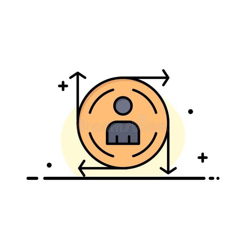 Χρήστης, Predication, βέλος, πρότυπο επιχειρησιακών λογότυπων πορειών Επίπεδο χρώμα ελεύθερη απεικόνιση δικαιώματος
