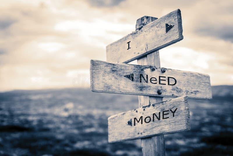 Χρειάζομαι τα χρήματα καθοδηγώ ελεύθερη απεικόνιση δικαιώματος