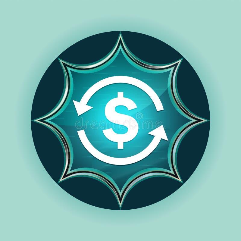 Χρημάτων ανταλλαγής δολαρίων σημαδιών εικονιδίων μαγικό υαλώδες μπλε υπόβαθρο ουρανού κουμπιών ηλιοφάνειας μπλε διανυσματική απεικόνιση