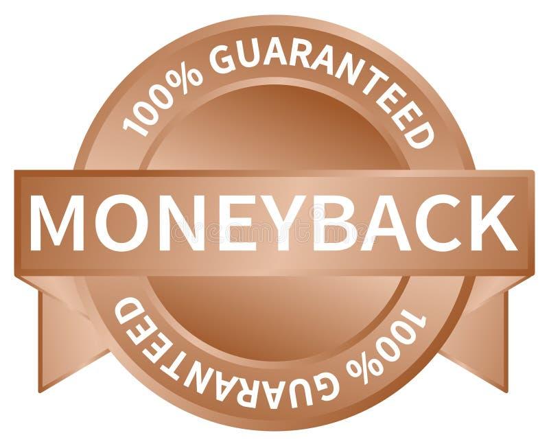 Χρηματική εγγυημένη αυτοκόλλητη ετικέττα, επίσημη εικόνα για τις εγγυημένες πωλήσεις, που απομονώνονται ελεύθερη απεικόνιση δικαιώματος