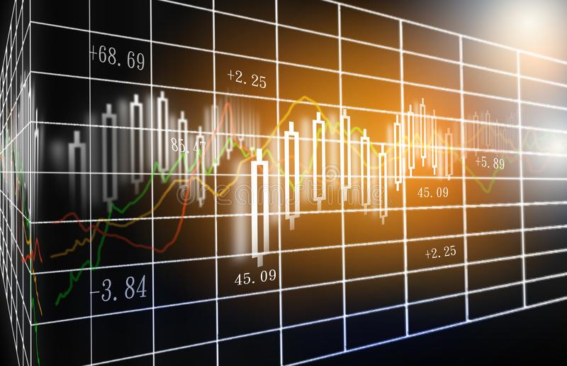 Χρηματιστήριο ή γραφική παράσταση εμπορικών συναλλαγών Forex και διάγραμμα κηροπηγίων κατάλληλο για την οικονομική έννοια επένδυσ στοκ φωτογραφίες