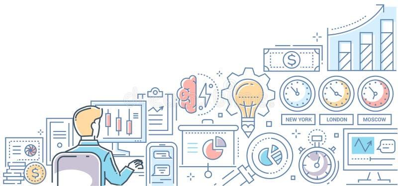 Χρηματιστήριο - σύγχρονη ζωηρόχρωμη απεικόνιση ύφους σχεδίου γραμμών διανυσματική απεικόνιση