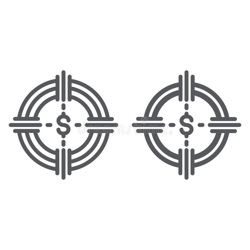 Χρηματοδοτεί τη γραμμή κυνηγιού και glyph το εικονίδιο, τη χρηματοδότηση και τις τραπεζικές εργασίες, σημάδι στόχων χρημάτων, δια ελεύθερη απεικόνιση δικαιώματος