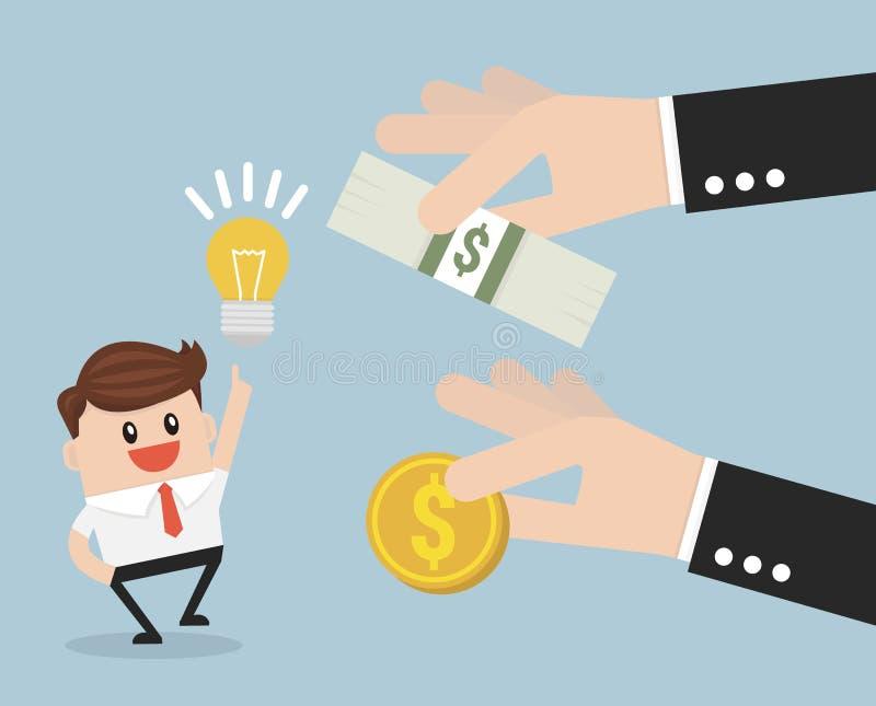Χρηματοδότηση πλήθους, έννοια επενδυτών, διανυσματικό ύφος σχεδίου illustion επίπεδο απεικόνιση αποθεμάτων