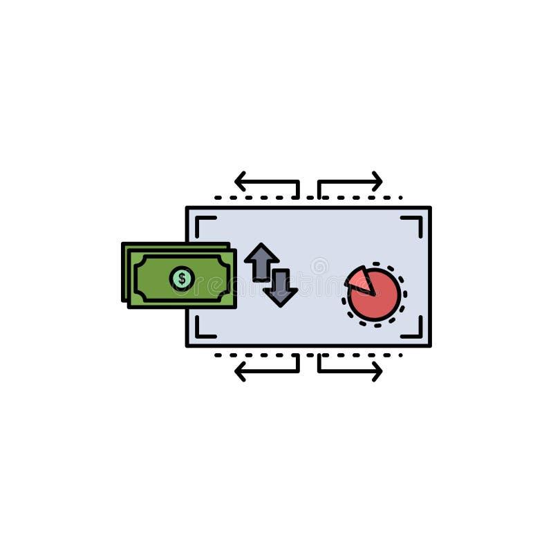 Χρηματοδότηση, ροή, μάρκετινγκ, χρήματα, επίπεδο διάνυσμα εικονιδίων χρώματος πληρωμών ελεύθερη απεικόνιση δικαιώματος