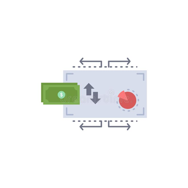 Χρηματοδότηση, ροή, μάρκετινγκ, χρήματα, επίπεδο διάνυσμα εικονιδίων χρώματος πληρωμών διανυσματική απεικόνιση