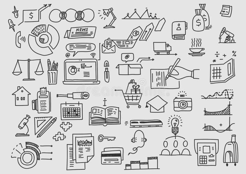 Χρηματοδότηση analytics επένδυσης ανάπτυξης επιχειρησιακών doodles γραφείων απεικόνιση αποθεμάτων