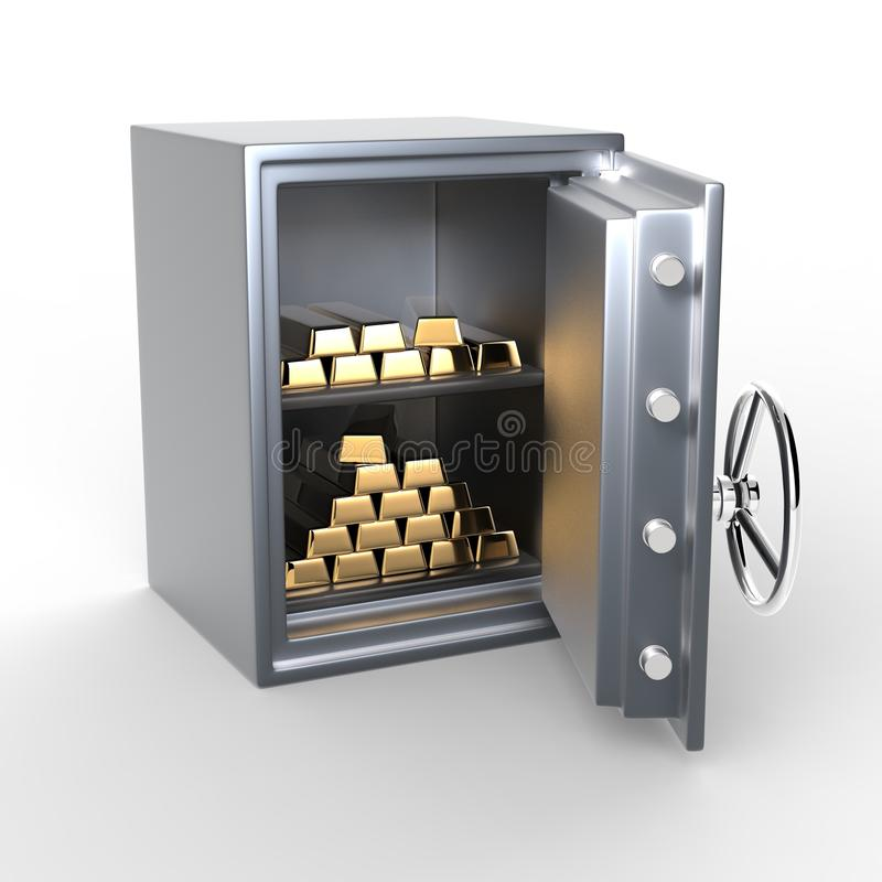 Χρηματοκιβώτιο μετάλλων με τους χρυσούς φραγμούς ελεύθερη απεικόνιση δικαιώματος