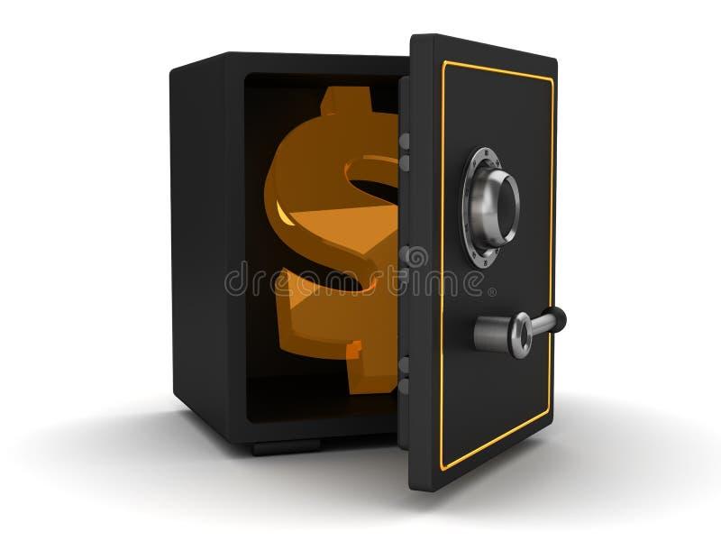 Χρηματοκιβώτιο με το σύμβολο δολαρίων διανυσματική απεικόνιση