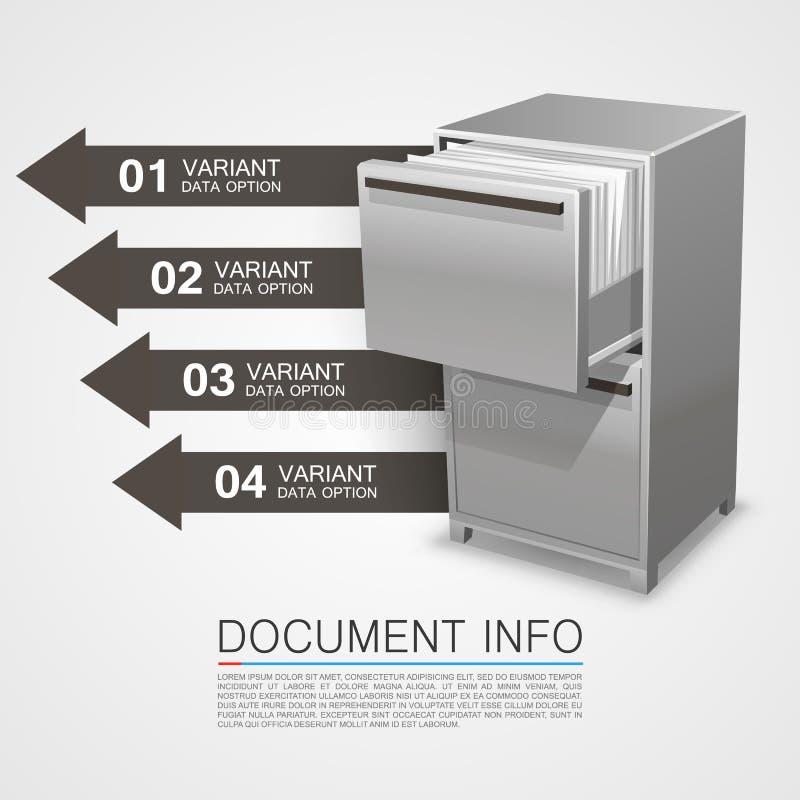 Χρηματοκιβώτιο ντουλαπιών με τις πληροφορίες εγγράφων ελεύθερη απεικόνιση δικαιώματος