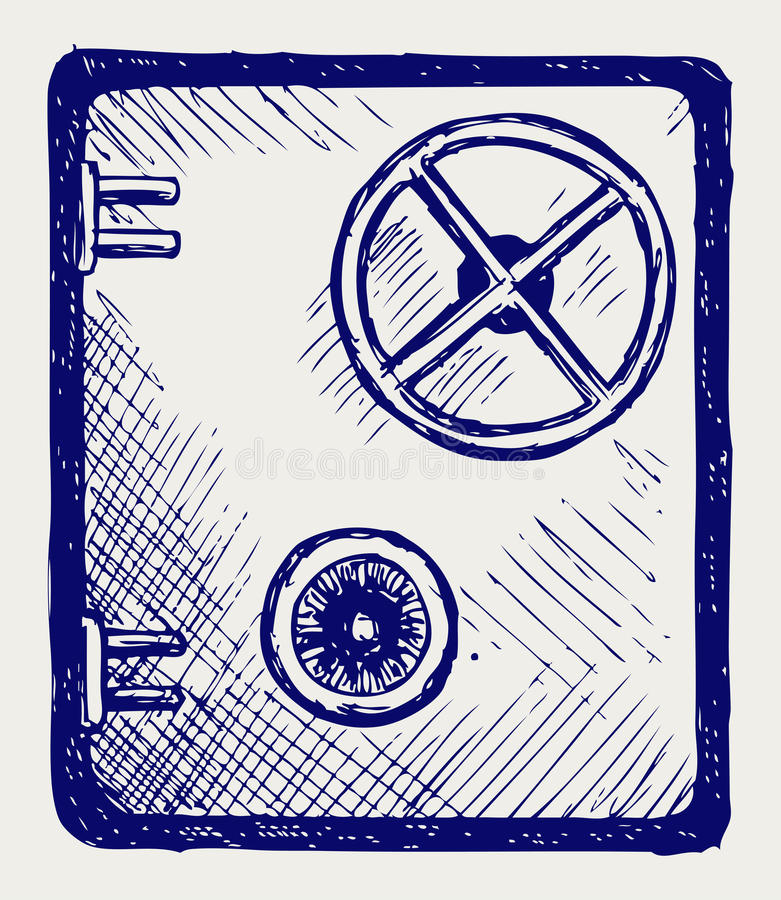 Χρηματοκιβώτιο τράπεζας. Ύφος Doodle διανυσματική απεικόνιση