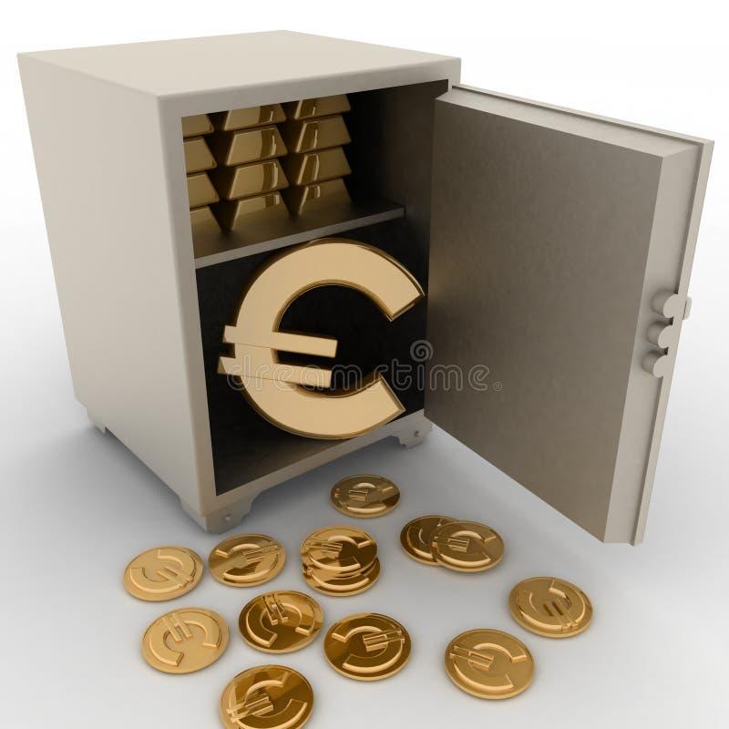 Χρηματοκιβώτιο χάλυβα με το ευρο- σημάδι μέσα ελεύθερη απεικόνιση δικαιώματος