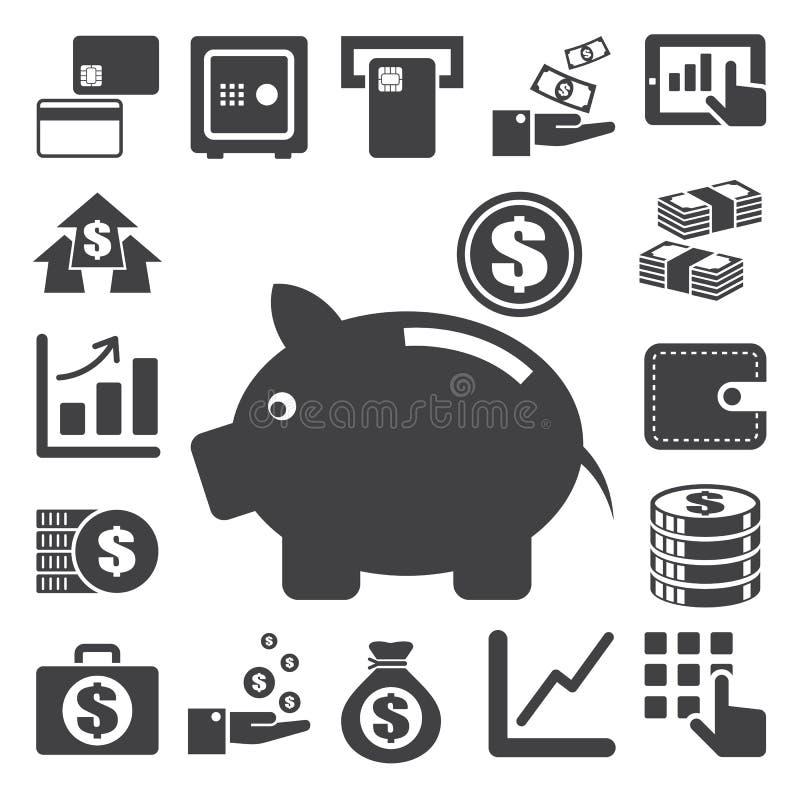 Χρηματοδότηση και σύνολο εικονιδίων χρημάτων. διανυσματική απεικόνιση