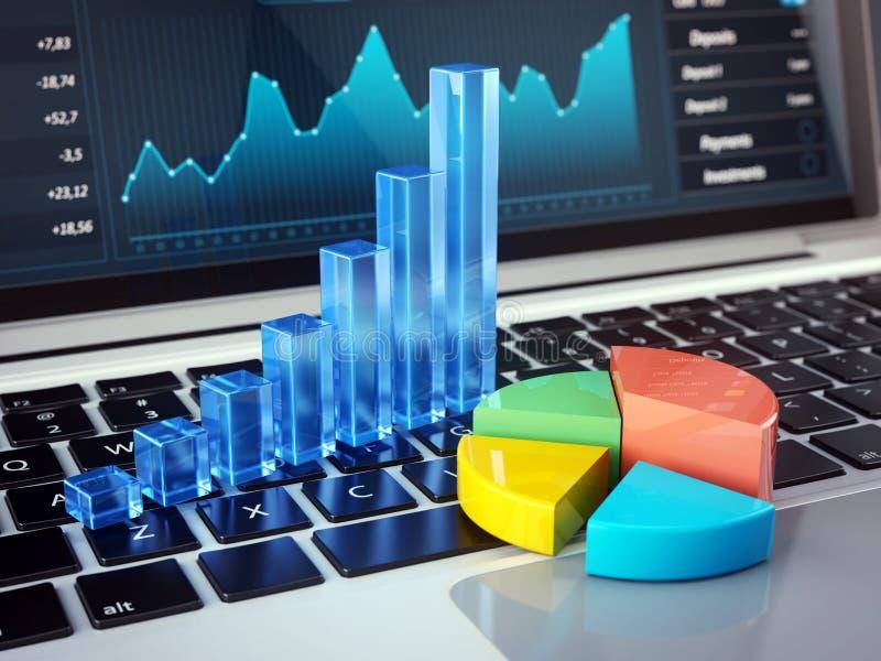 Χρηματοδότηση, λογιστική, σε απευθείας σύνδεση τραπεζικές εργασίες και κινητή έννοια γραφείων - οικονομικά διαγράμματα στο πληκτρ απεικόνιση αποθεμάτων