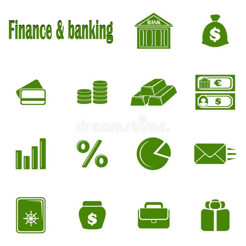 Χρηματοδότηση & τραπεζικές εργασίες δεκατεσσάρων μονοχρωματική εικονιδίων στοκ φωτογραφία