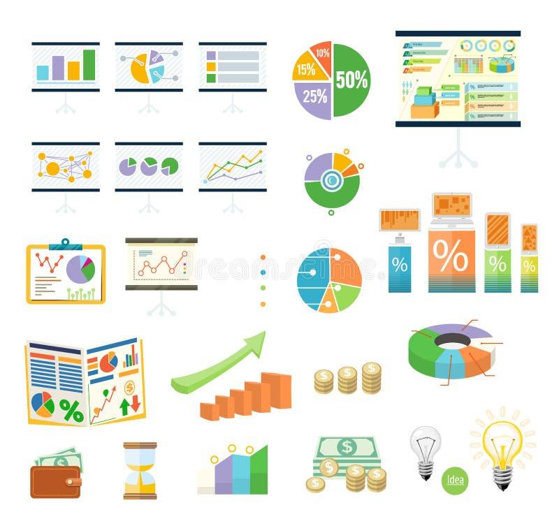 Χρηματοδότηση Diagramm εργαλείων στοιχείων και γραφικός διανυσματική απεικόνιση