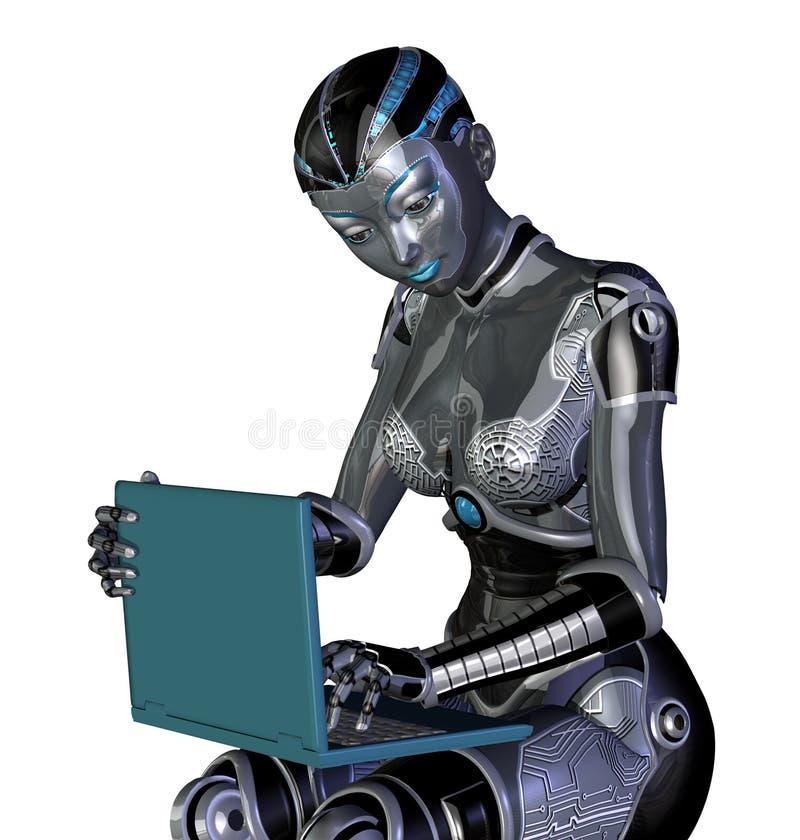 χρησιμοποίηση ρομπότ lap-top υπ&omicro διανυσματική απεικόνιση