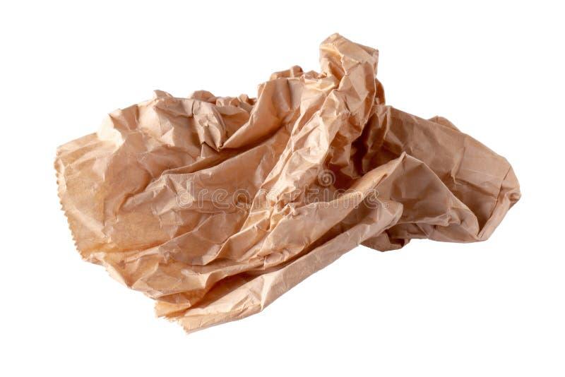 Χρησιμοποιημένη τσάντα καφετιού εγγράφου που απομονώνεται πέρα από το άσπρο υπόβαθρο στοκ εικόνες