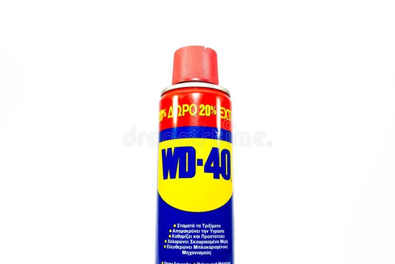 Χρησιμοποιημένος παραλήπτης wd-40 στο άσπρο υπόβαθρο στοκ εικόνα