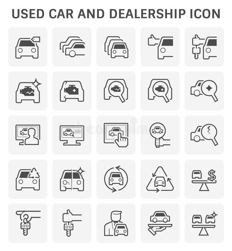 Χρησιμοποιημένο εικονίδιο αυτοκινήτων και αντιπροσώπων που τίθεται για το χρησιμοποιημένο επιχειρησιακό σχέδιο αυτοκινήτων απεικόνιση αποθεμάτων