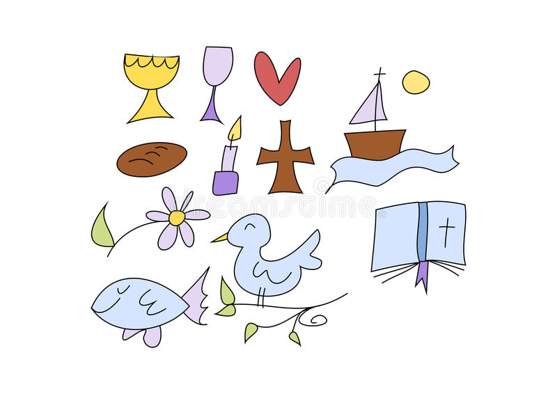 Χριστιανικά σύμβολα για τα παιδιά απεικόνιση αποθεμάτων