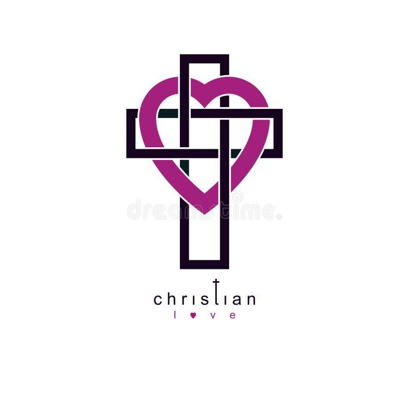 Χριστιανική αγάπη και αληθινή πίστη στο διανυσματικό δημιουργικό σχέδιο συμβόλων Θεών, που συνδυάζεται με το χριστιανικούς σταυρό ελεύθερη απεικόνιση δικαιώματος