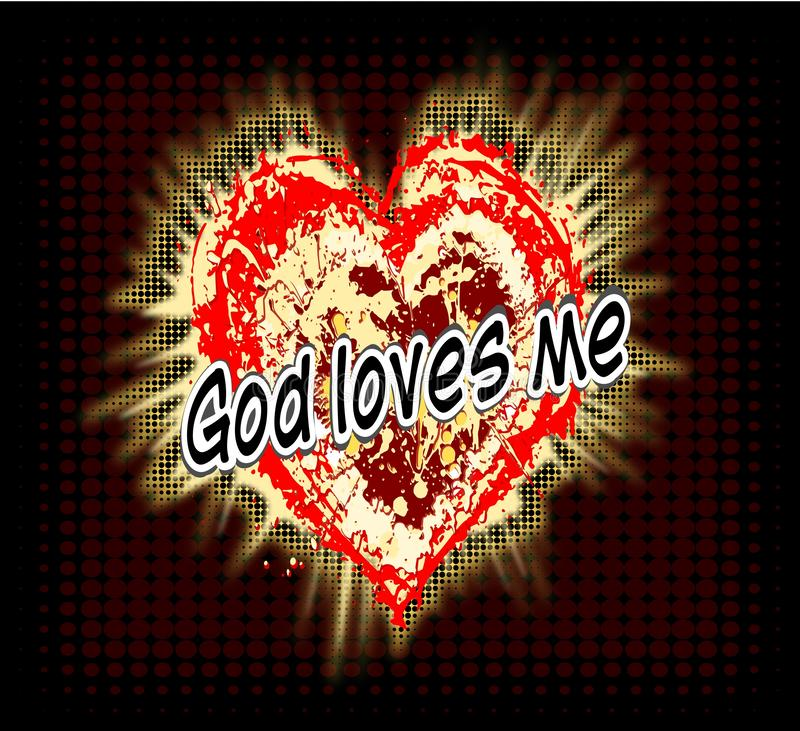 Χριστιανική ανασκόπηση Ο Θεός με αγαπά Ημίτοή καρδιά ο Ιησούς σας αγαπά ελεύθερη απεικόνιση δικαιώματος