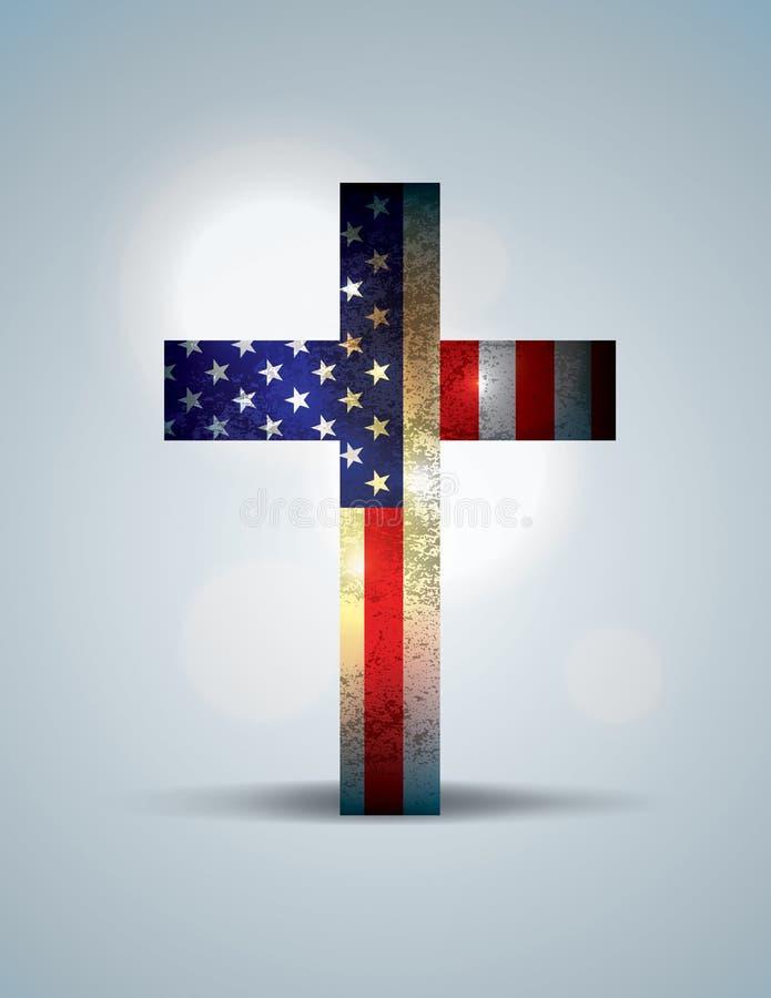 Χριστιανική απεικόνιση σταυρών και αμερικανικών σημαιών απεικόνιση αποθεμάτων