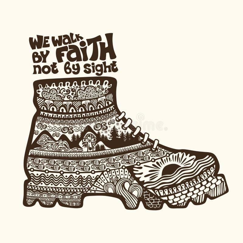 Χριστιανική εγγραφή, doodle τέχνη, τυπογραφία Περπατάμε από την πίστη όχι από τη θέα ελεύθερη απεικόνιση δικαιώματος