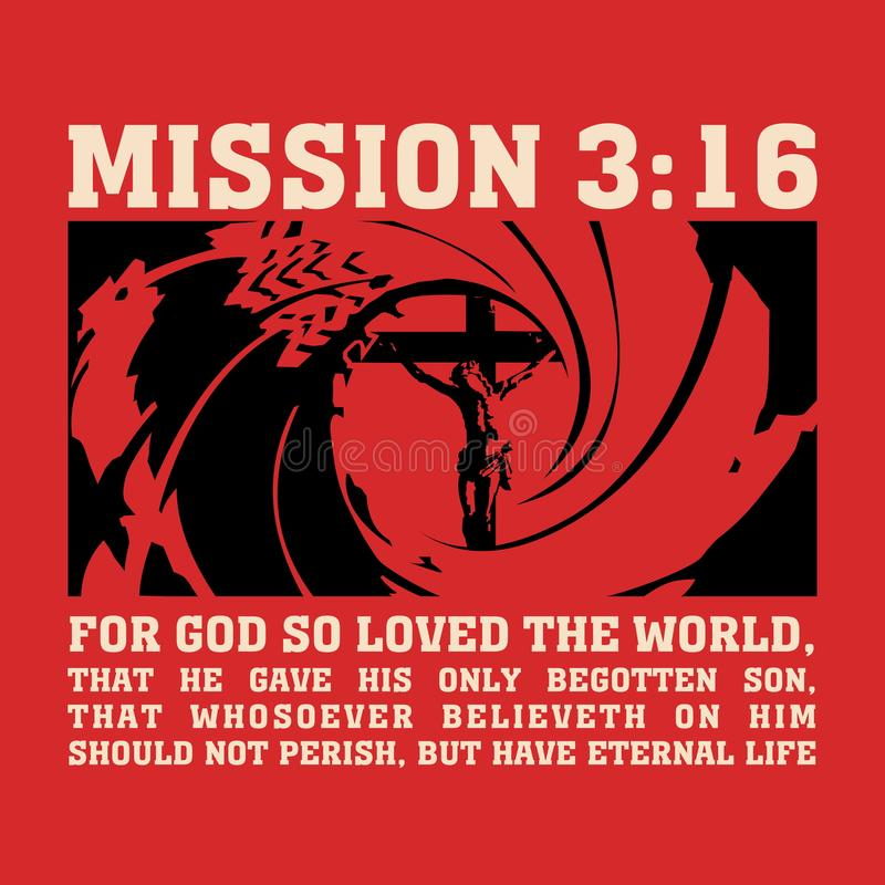 Χριστιανική τυπωμένη ύλη Η αποστολή 3:16, για το Θεό αγάπησε έτσι τον κόσμο διανυσματική απεικόνιση