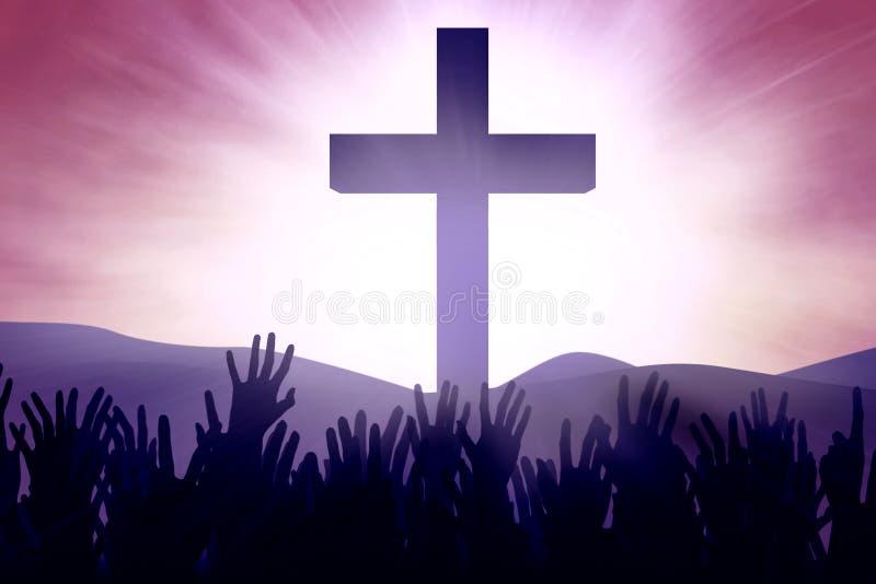 Χριστιανικοί προσκυνητές στο σταυρό απεικόνιση αποθεμάτων