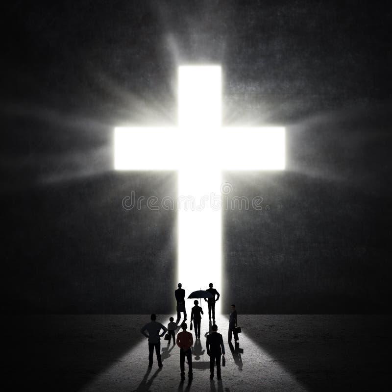 Χριστιανικοί προσκυνητές στο σταυρό στοκ εικόνα με δικαίωμα ελεύθερης χρήσης