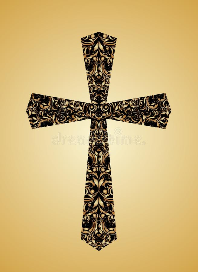 Χριστιανικός εκλεκτής ποιότητας σταυρός με το floral σχέδιο διανυσματική απεικόνιση