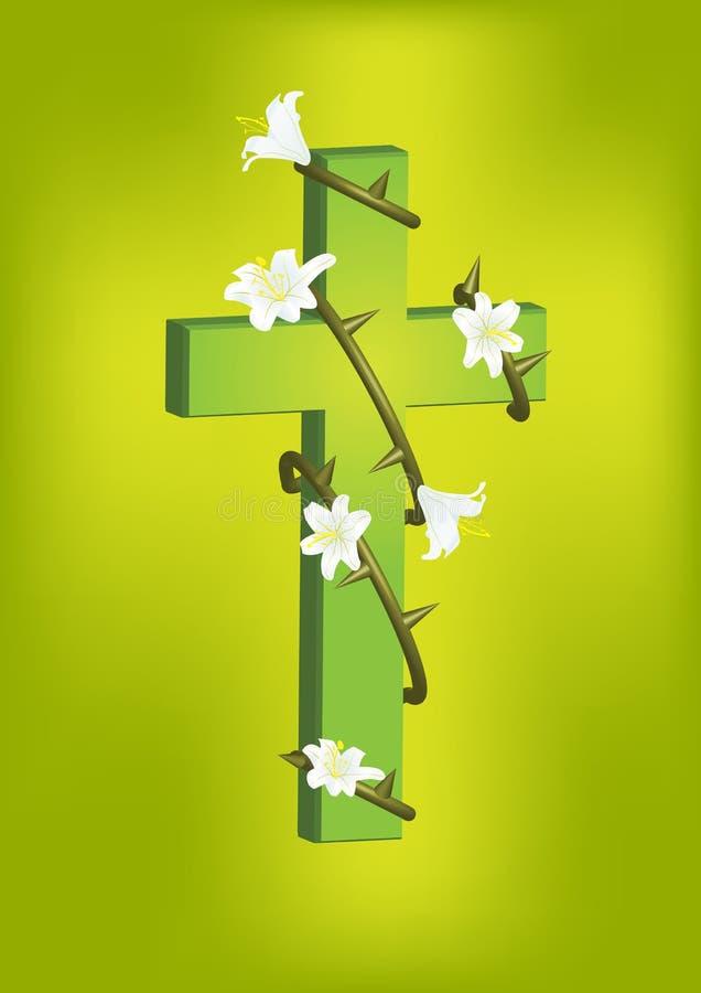 Χριστιανικός διαγώνιος και άσπρος κρίνος 2 διανυσματική απεικόνιση