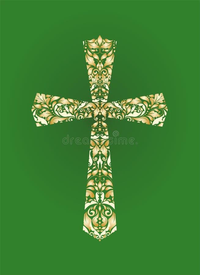 Χριστιανικός περίκομψος σταυρός με το floral χρυσό σχέδιο στο πράσινο υπόβαθρο απεικόνιση αποθεμάτων