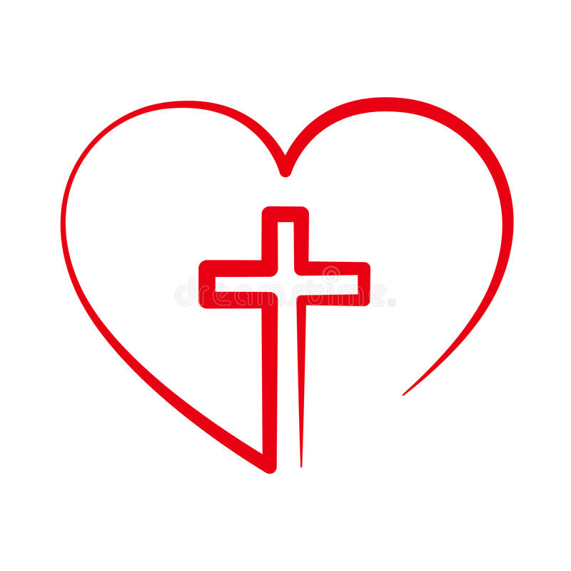 Χριστιανικός σταυρός μέσα στην καρδιά επίσης corel σύρετε το διάνυσμα απεικόνισης ελεύθερη απεικόνιση δικαιώματος