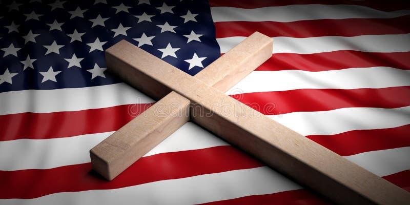 Χριστιανικός σταυρός στο υπόβαθρο αμερικανικών σημαιών τρισδιάστατη απεικόνιση ελεύθερη απεικόνιση δικαιώματος