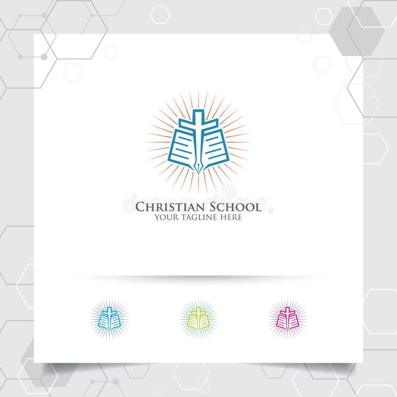 Χριστιανικό διάνυσμα σχεδίου σχολικών λογότυπων με την έννοια του βιβλίου, της μάνδρας και της διαγώνιας απεικόνισης εικονιδίων ελεύθερη απεικόνιση δικαιώματος